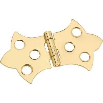 National 1-5/16 In. x 2-1/4 In. Miniature Brass Decorative Hinge (2-Pack)