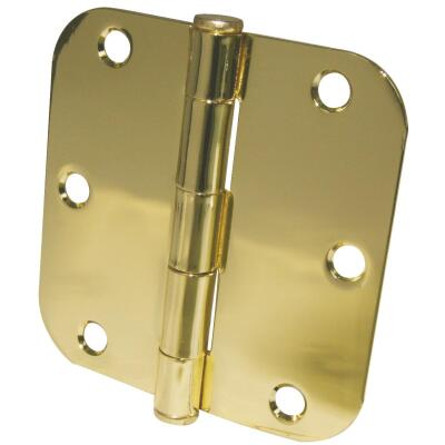 Ultra Hardware 3-1/2 In. x 5/8 In. Radius Polished Brass Door Hinge (3-Pack)