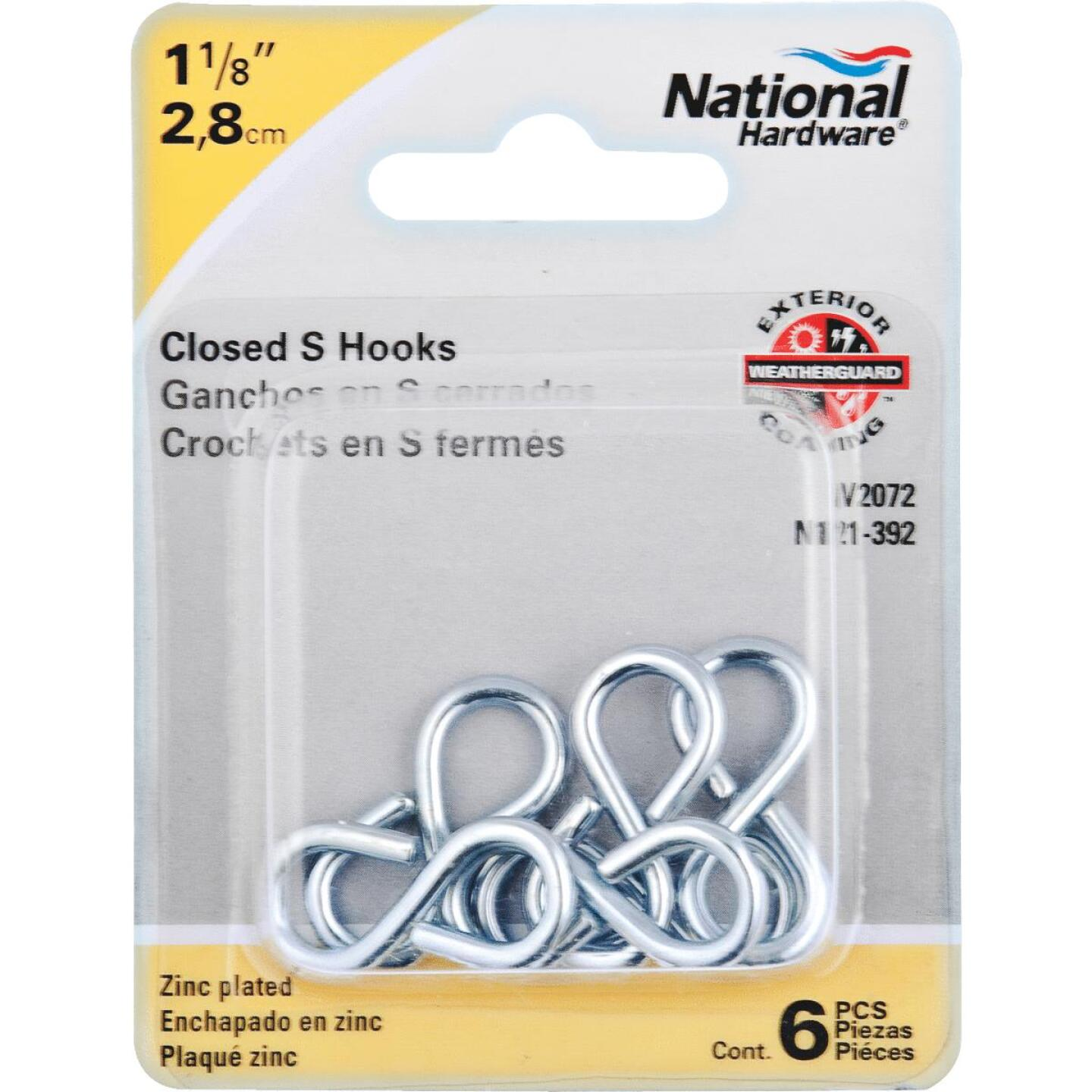 National 1-1/8 In. Zinc Light Closed S Hook (6 Ct.) Image 2