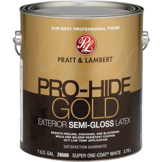 Pratt & Lambert Pro-Hide Gold Latex Semi-Gloss Exterior House Paint, Super One-Coat White, 1 Gal.