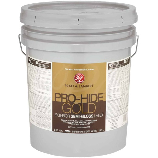 Pratt & Lambert Pro-Hide Gold Latex Semi-Gloss Exterior House Paint, Super One-Coat White, 5 Gal.