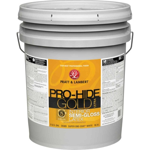 Pratt & Lambert Pro-Hide Gold Ultra Latex Semi-Gloss Interior Wall Paint, Super One-Coat White, 5 Gal.