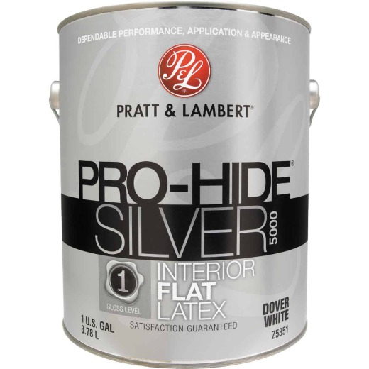 Pratt & Lambert Pro-Hide Silver 5000 Latex Flat Interior Wall Paint, Dover White, 1 Gal.