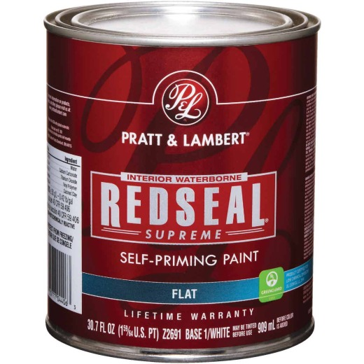 Pratt & Lambert Redseal Supreme Latex Flat Interior Wall Paint, Base 1 White, 1 Qt.