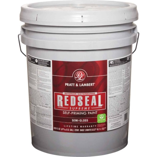 Pratt & Lambert Redseal Supreme Latex Semi-Gloss Interior Wall Paint, Base 1 White, 5 Gal.